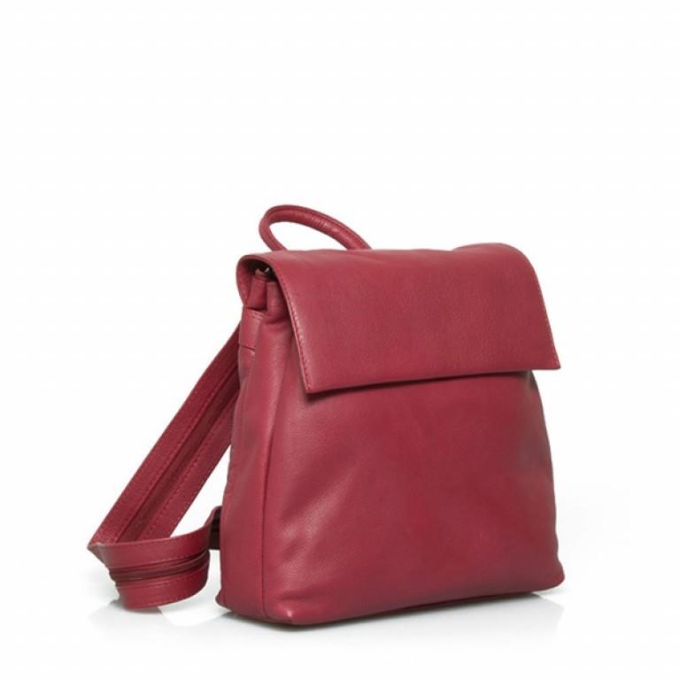 Portobello Damenrucksack Überschlag Leder Rot, Farbe: rot/weinrot, Marke: Portobello, Abmessungen in cm: 27.0x32.0x12.0, Bild 1 von 2