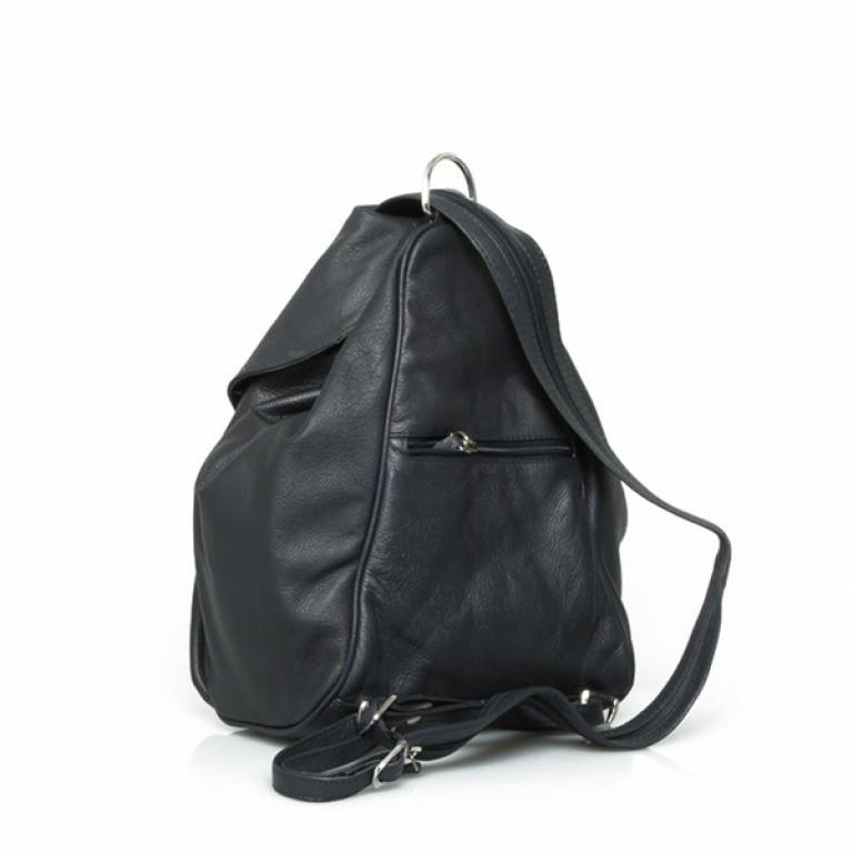 Portobello Damenrucksack mit ÜB-Vortasche Leder Schwarz, Farbe: schwarz, Marke: Portobello, Abmessungen in cm: 23.0x32.0x18.0, Bild 2 von 2