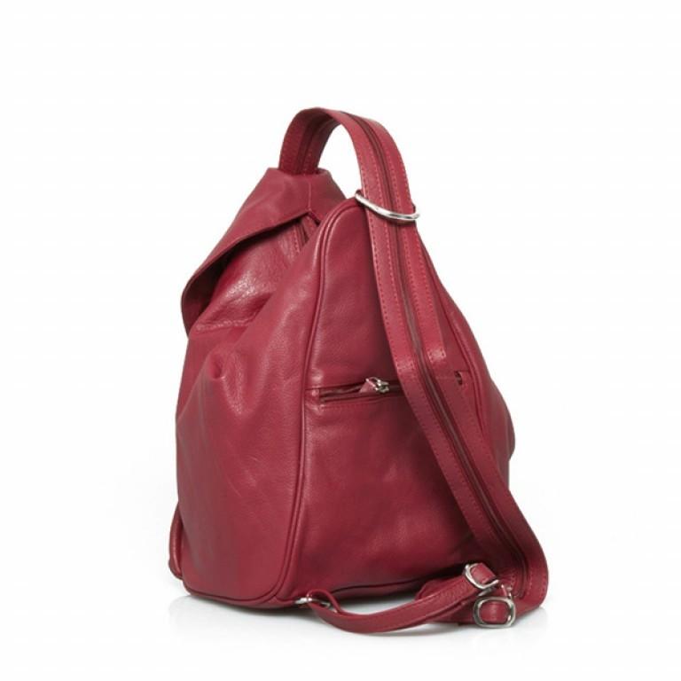 Portobello Damenrucksack mit ÜB-Vortasche Leder Rot, Farbe: rot/weinrot, Marke: Portobello, Abmessungen in cm: 23.0x32.0x18.0, Bild 2 von 2
