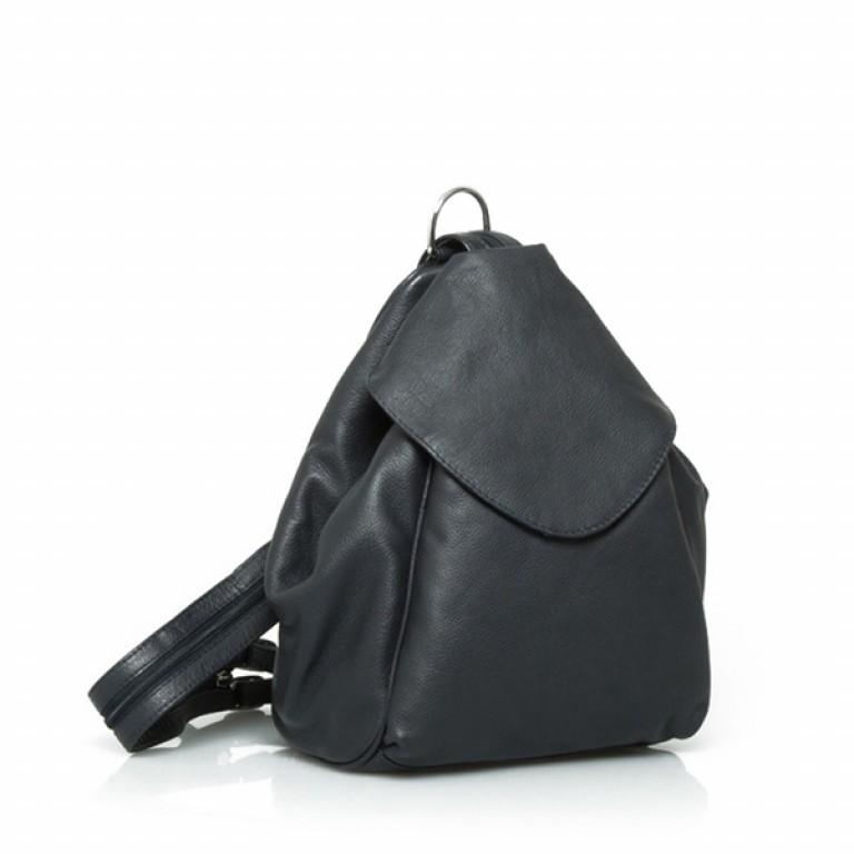 Portobello Damenrucksack mit ÜB-Vortasche Leder Schwarz, Farbe: schwarz, Marke: Portobello, Abmessungen in cm: 23.0x32.0x18.0, Bild 1 von 2