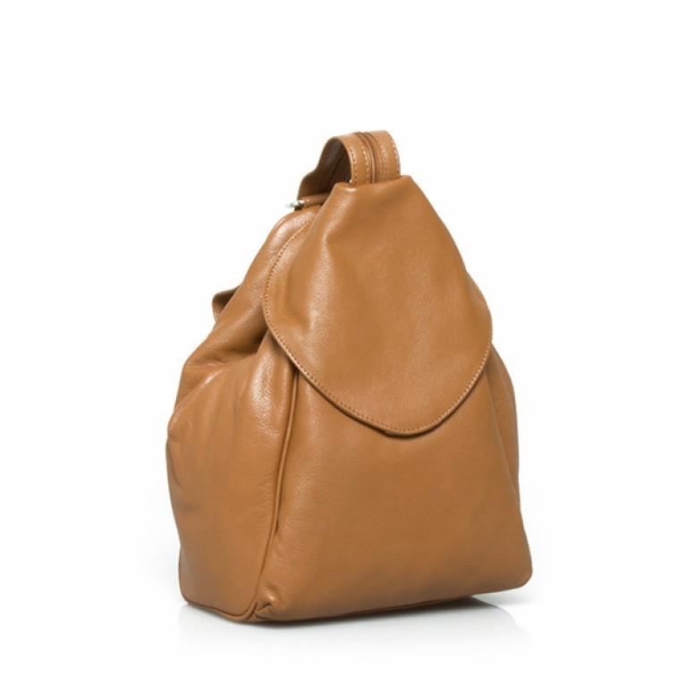 Portobello Damenrucksack mit ÜB-Vortasche Leder Cognac, Farbe: cognac, Marke: Portobello, Abmessungen in cm: 23.0x32.0x18.0, Bild 1 von 2