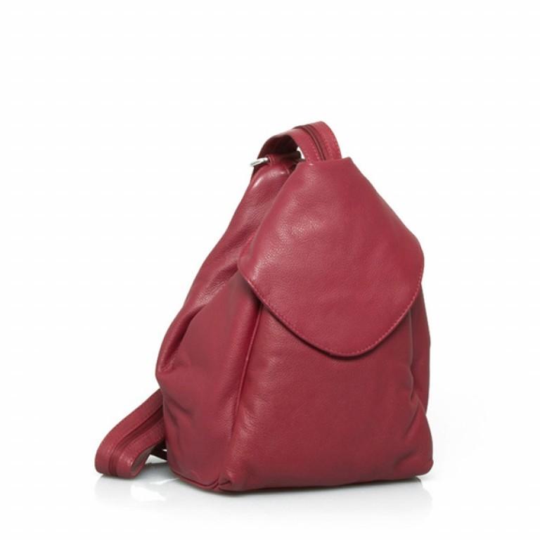Portobello Damenrucksack mit ÜB-Vortasche Leder Rot, Farbe: rot/weinrot, Marke: Portobello, Abmessungen in cm: 23.0x32.0x18.0, Bild 1 von 2