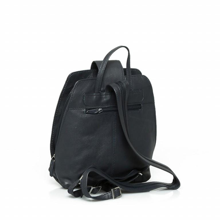Portobello Damenrucksack mit Riegel Leder Schwarz, Farbe: schwarz, Marke: Portobello, Abmessungen in cm: 25.0x32.0x12.0, Bild 2 von 2