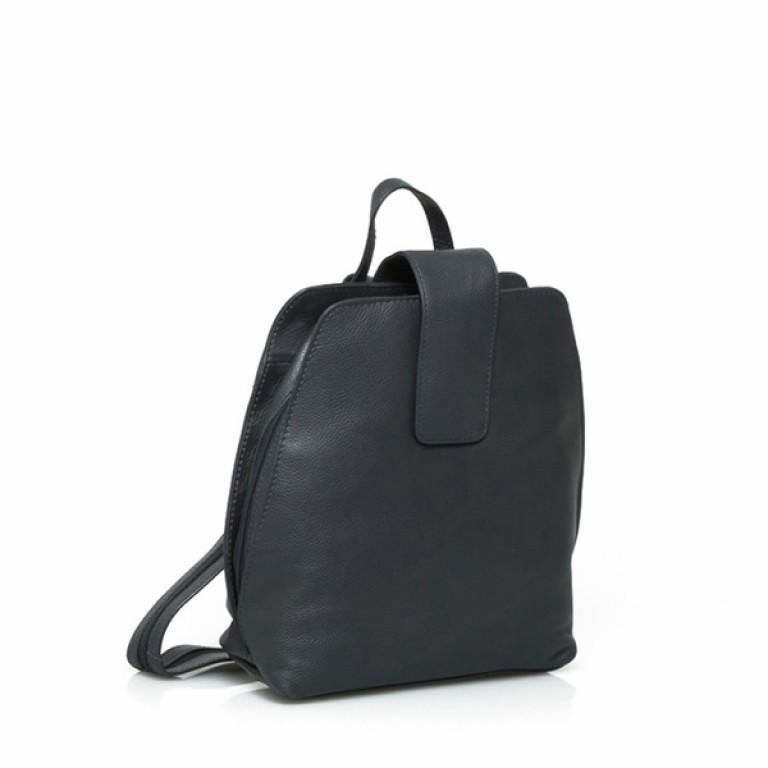 Portobello Damenrucksack mit Riegel Leder Schwarz, Farbe: schwarz, Marke: Portobello, Abmessungen in cm: 25.0x32.0x12.0, Bild 1 von 2