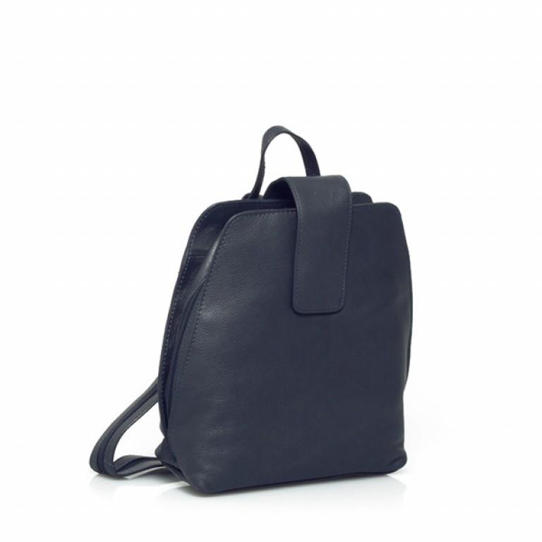 Portobello Damenrucksack mit Riegel Leder Blau, Farbe: blau/petrol, Marke: Portobello, Abmessungen in cm: 25.0x32.0x12.0, Bild 1 von 2