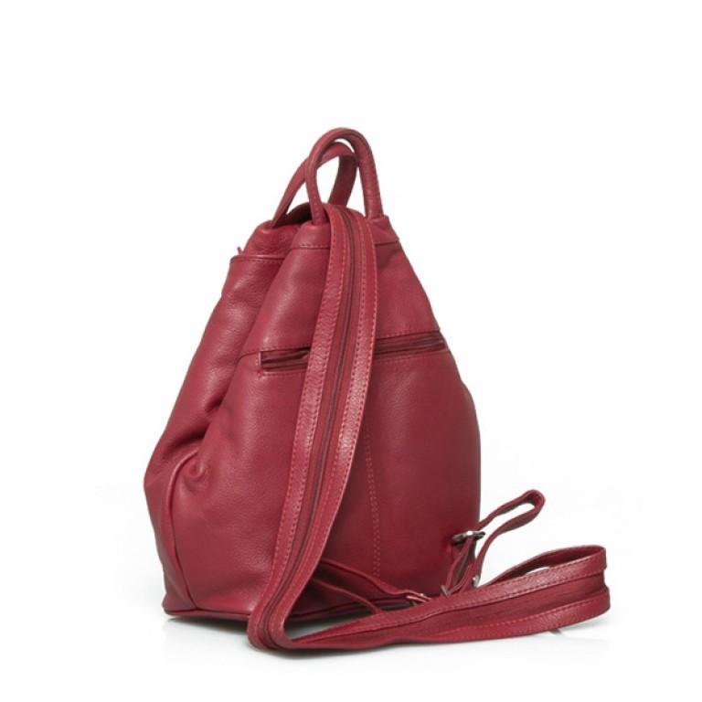 Portobello Damenrucksack RV-Vortasche Leder Rot, Farbe: rot/weinrot, Marke: Portobello, Abmessungen in cm: 26.0x32.0x12.0, Bild 2 von 2
