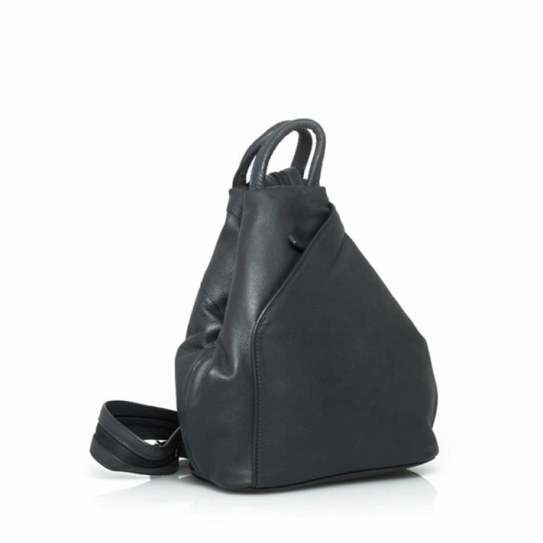 Portobello Damenrucksack RV-Vortasche Leder Schwarz, Farbe: schwarz, Marke: Portobello, Abmessungen in cm: 26.0x32.0x12.0, Bild 1 von 2