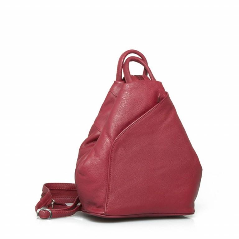 Portobello Damenrucksack RV-Vortasche Leder Rot, Farbe: rot/weinrot, Marke: Portobello, Abmessungen in cm: 26.0x32.0x12.0, Bild 1 von 2