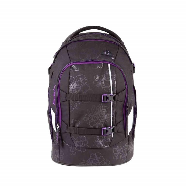 Satch Pack Rucksack Purple Hibiscus, Farbe: schwarz, flieder/lila, Marke: Satch, EAN: 4260389768267, Abmessungen in cm: 30.0x45.0x22.0, Bild 1 von 4