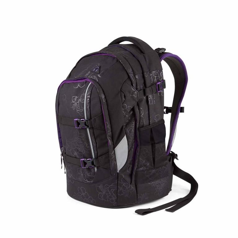 Satch Pack Rucksack Purple Hibiscus, Farbe: schwarz, flieder/lila, Marke: Satch, EAN: 4260389768267, Abmessungen in cm: 30.0x45.0x22.0, Bild 2 von 4