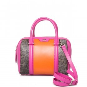 Cavalli Signature Bowlingbag S Leder Orange Fuchsia