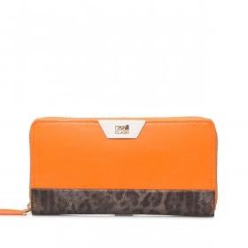 Cavalli Signature Reißverschlussbörse Leder Orange Offwhite