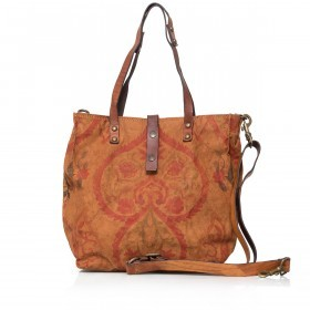 Campomaggi Guarana Shopper Canvas 33 cm C4580C-TBSVLT-1702 Cognac / Druck Orange