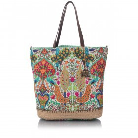 Anokhi Shopper Cheyenne 117-5201-0087 Canvas Metallic Oriental Peacock