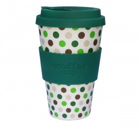 Ecoffee Cup 400ml Green Polka With Green Silicone