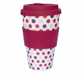 Ecoffee Cup 400ml Pink Polka With Maroon Silicone