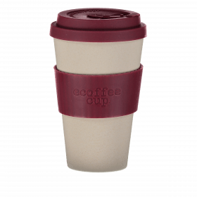 Ecoffee Cup 400ml Maroon Nature With Maroon Silicone