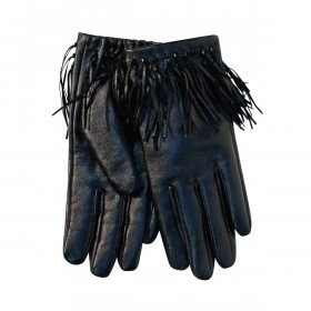 UNMADE Leather Glove with Fringes Damenhandschuh 7 Schwarz