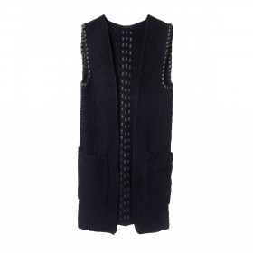 UNMADE Leather Trims Waistcoat Weste Schwarz