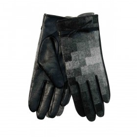 UNMADE Check Weaved Leather Glove Handschuh 7,5 Grau