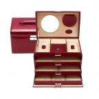 Windrose Merino Schmuckkoffer Vier Etagen Rot, Farbe: rot/weinrot, Marke: Windrose, Abmessungen in cm: 24.5x16.5x16.0, Bild 2 von 4