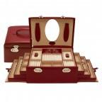 Windrose Merino Schmuckkoffer Seitenladen Rot, Farbe: rot/weinrot, Marke: Windrose, Abmessungen in cm: 29.5x17.0x19.0, Bild 2 von 4